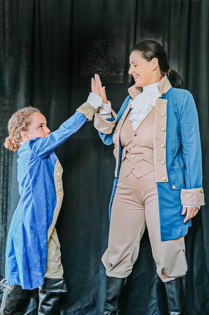 Immigrants, we get the job done! Lafayette kid's Hamilton costume and an adult women's Alexander Hamilton costume