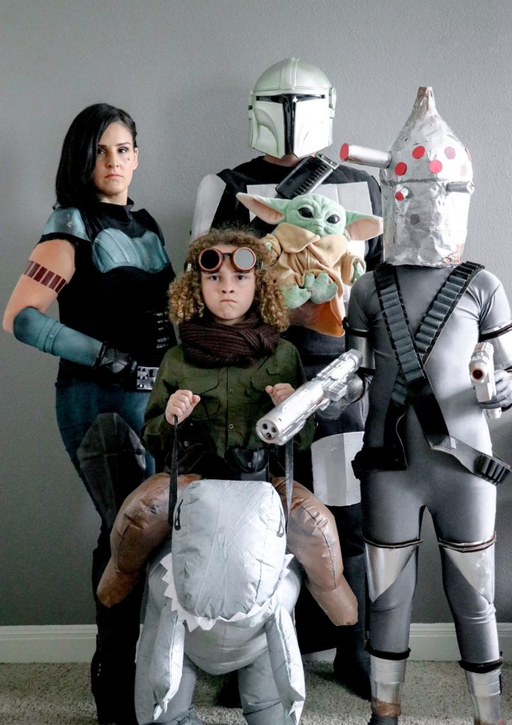 DIY Mandalorian family costumes: Cara Dune costume, Kuiil costume, IG-11 Halloween costume, and a DIY Mandalorian costume