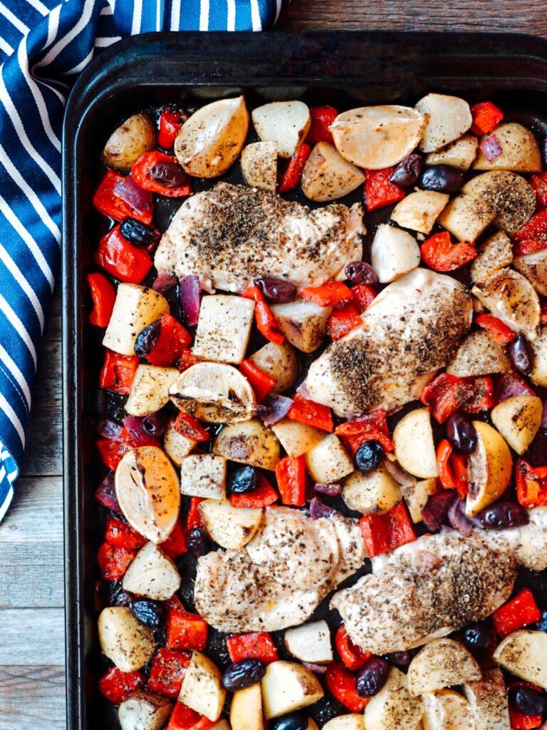 Baked Greek Chicken (easy sheet pan Greek chicken and veggies recipe)