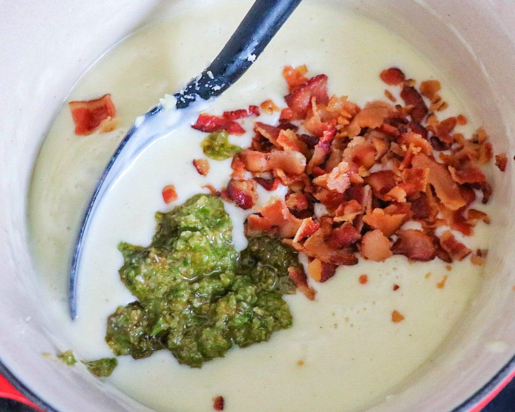 bacon pesto mac and cheese bake recipe