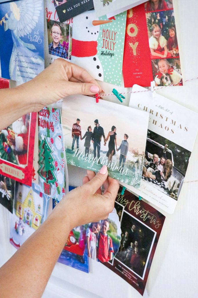 Easy DIY Christmas card display idea