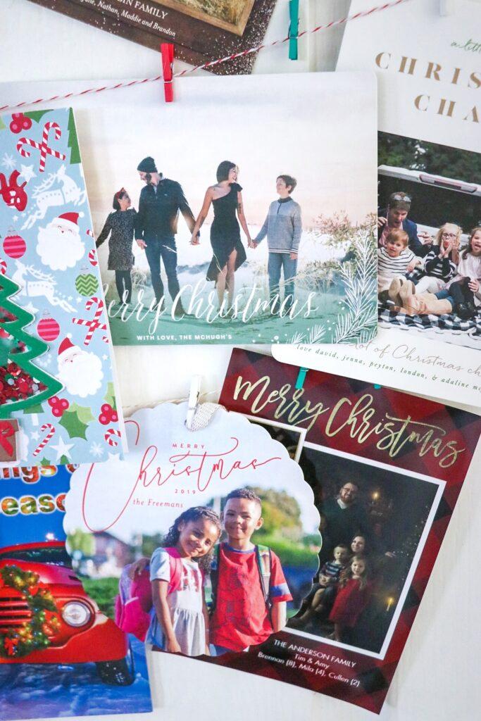 Pantry door Christmas card display idea