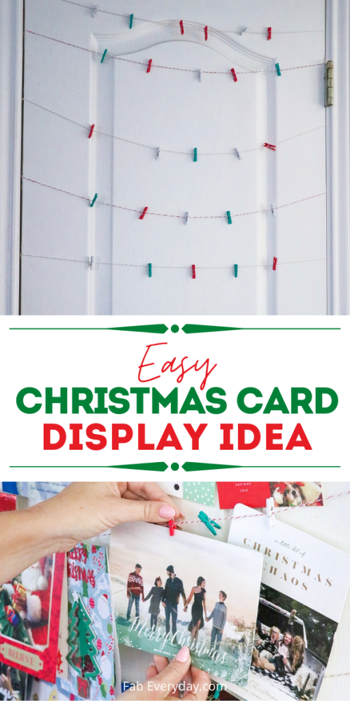 Easy Christmas card display idea - DIY card hanger
