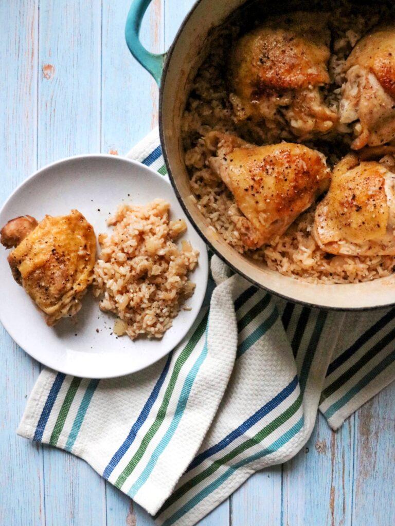 One-Pot Lemon-Pepper Chicken and Rice (Dutch oven lemon pepper chicken thigh recipe)