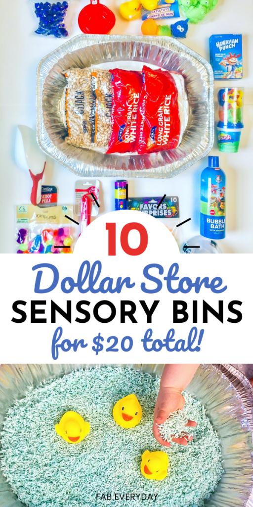 Dollar Store Sensory Bins (budget DIY sensory bins for toddlers)