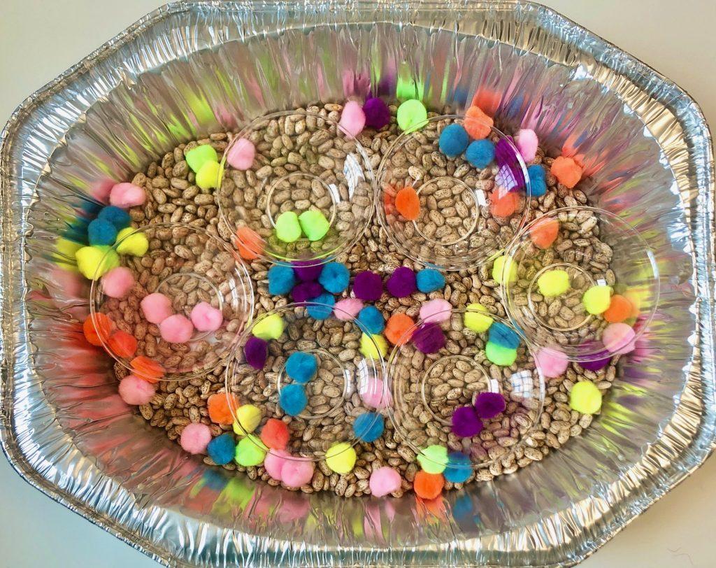dollar store sensory bins: Pom Pom Color Sort