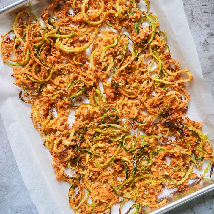 Seasoned Zucchini Curly Fries (low-guilt baked zoodles recipe)