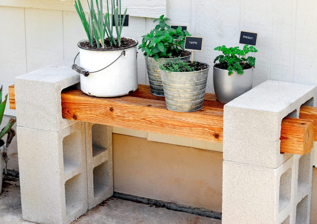 cinder block plant bench