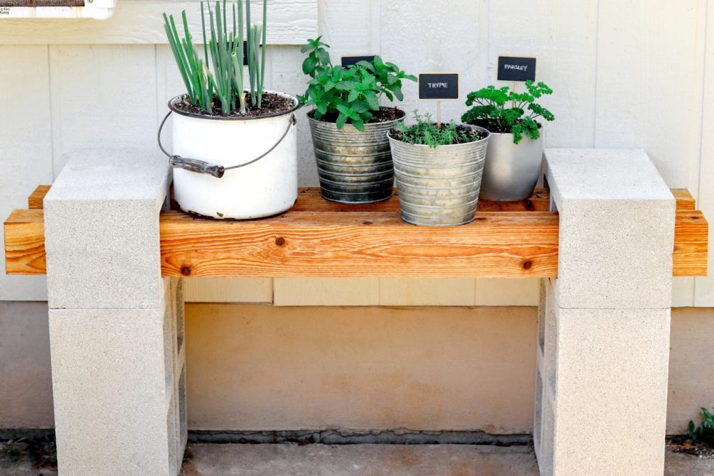 cinder block plant stand