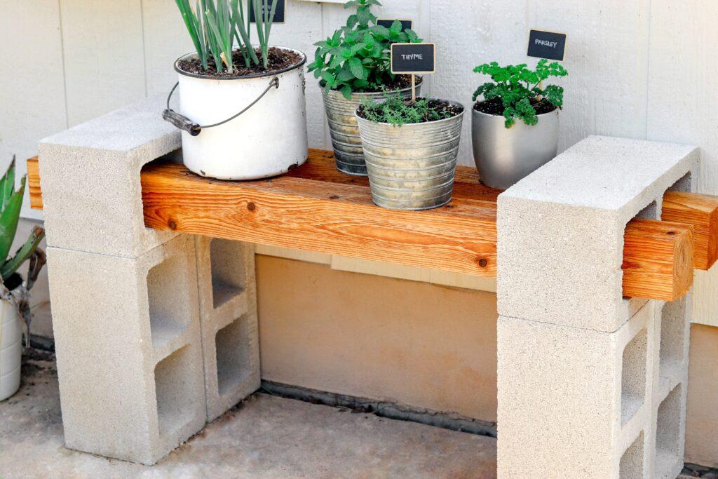 DIY Cinder Block Plant Bench