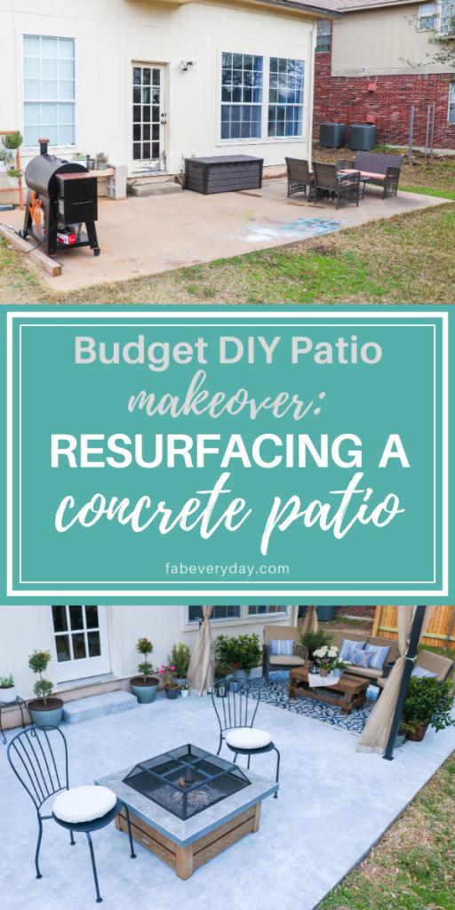 Resurfacing a concrete patio for a budget DIY patio makeover