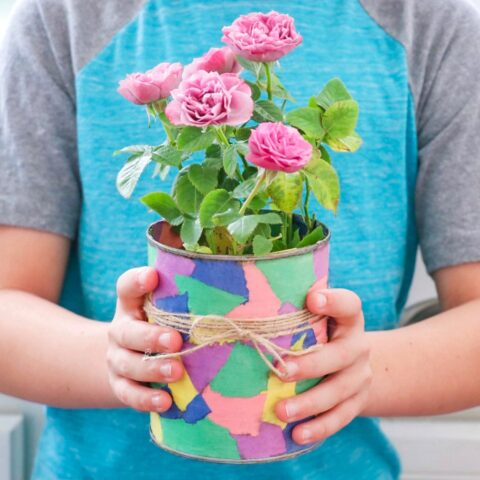 Easy Decoupage Plant Pot (fun upcycling idea for kids!)