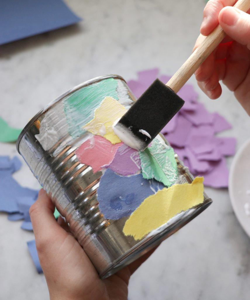 upcycle crafts for kids: kids flower pot craft