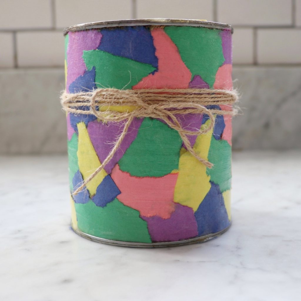 Upcycle crafts for kids: Easy Decoupage Plant Pot