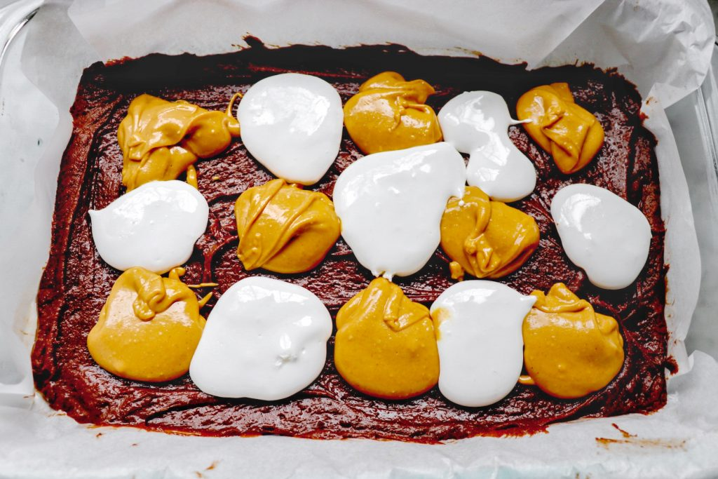 brownies with marshmallow fluff and peanut butter swirl