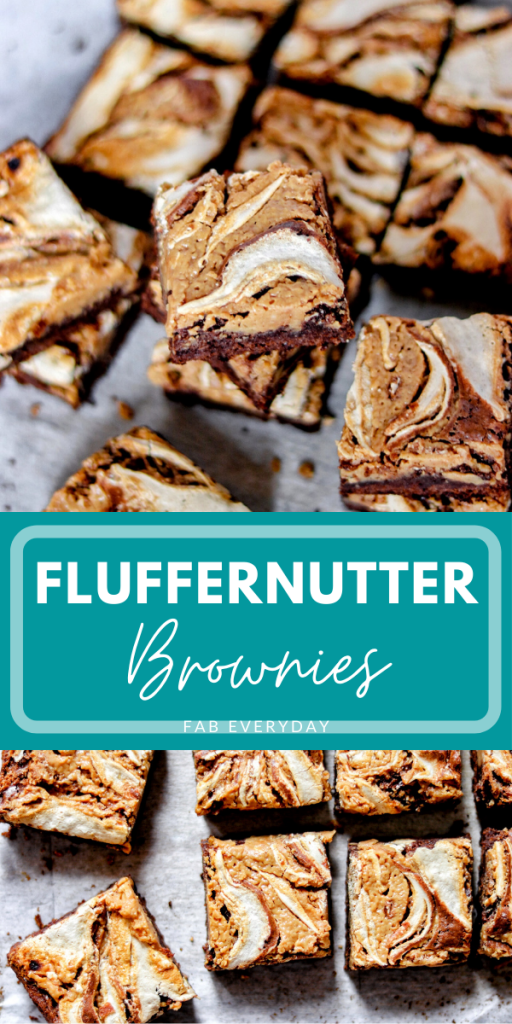 Fluffernutter Brownies (brownies with marshmallow fluff and peanut butter)