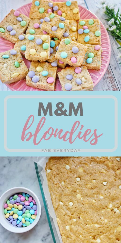 M&M Blondies (delicious blonde brownies recipe)