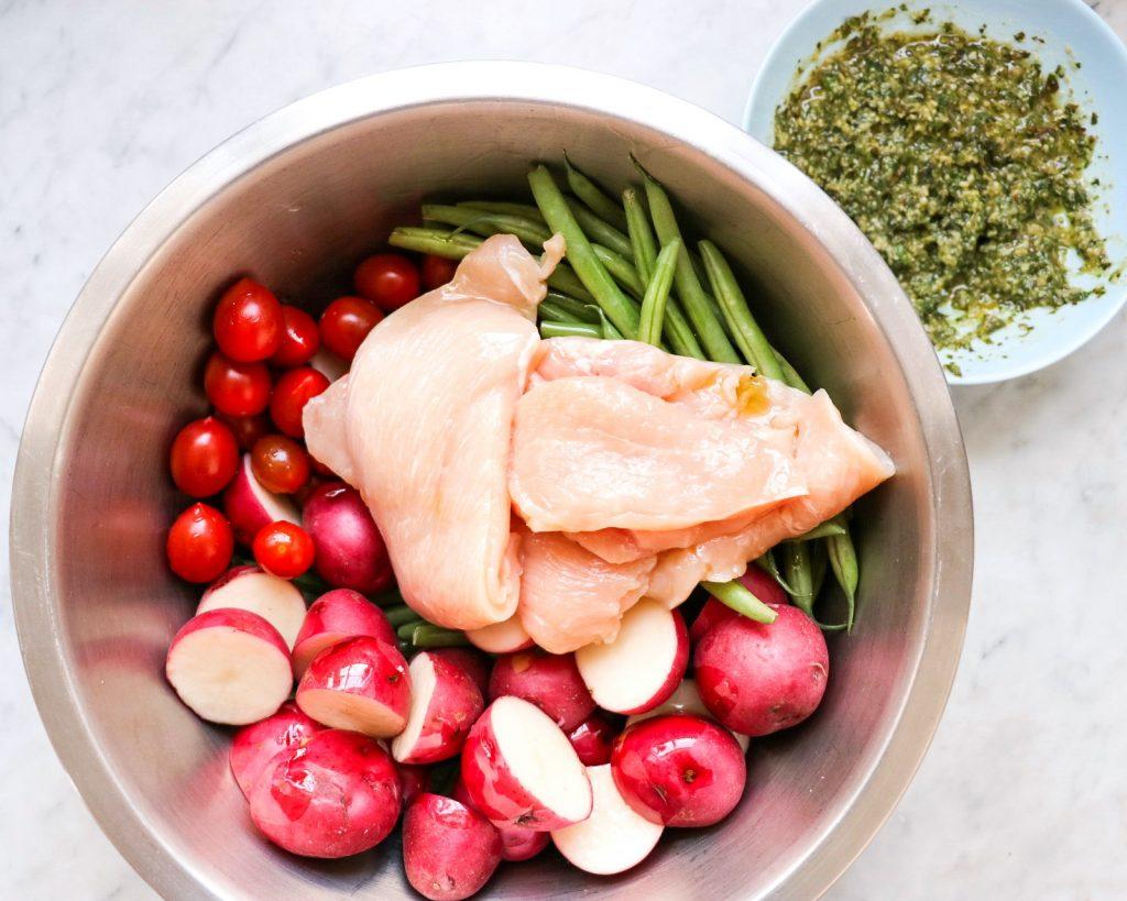 How to make One Pan Pesto Chicken and Veggies