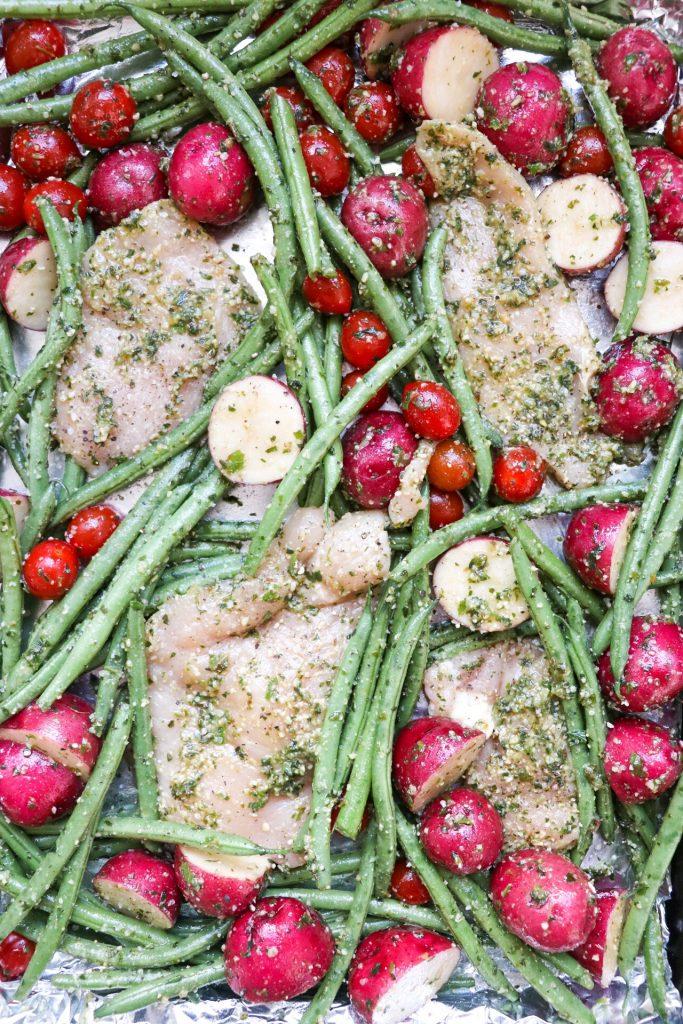 sheet pan pesto chicken and veggies recipe