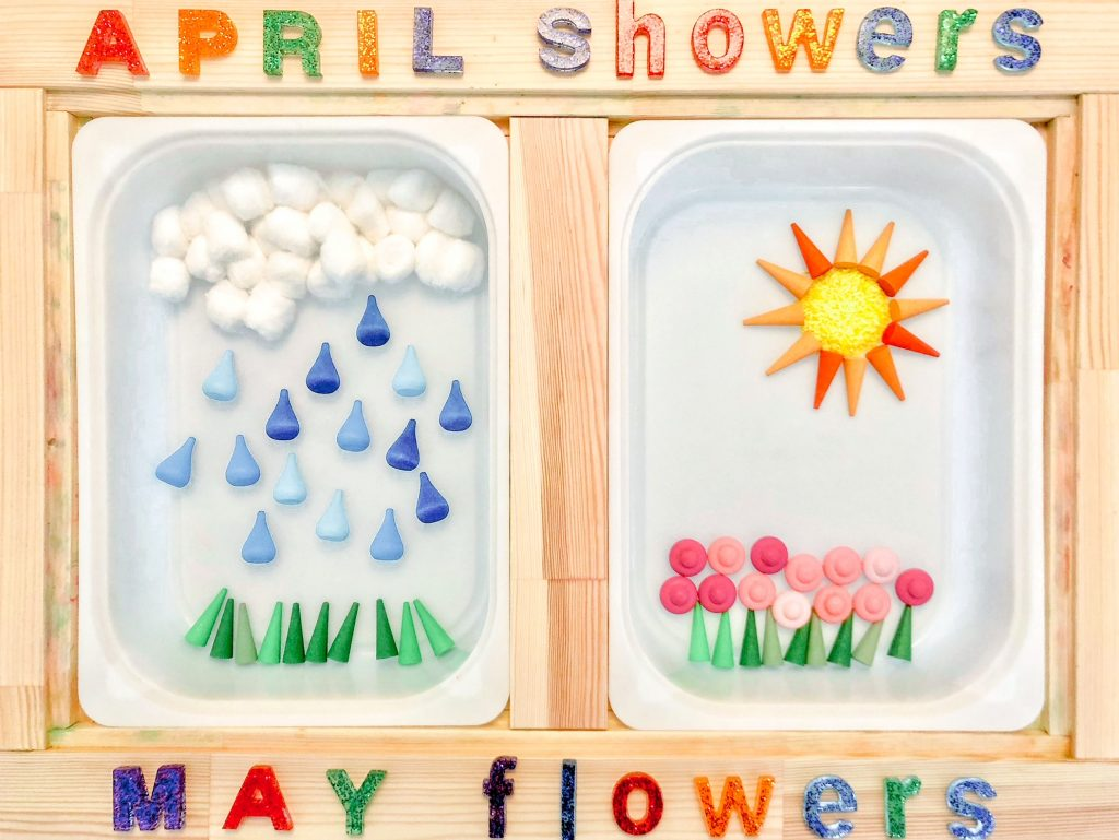 Spring sensory bins for toddlers: April showers and May flowers spring sensory table ideas