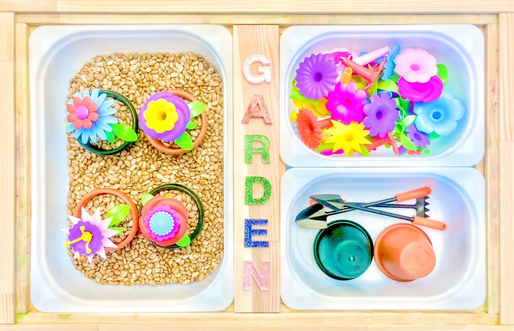 spring toddler activities: gardening sensory bin (spring sensory bin for toddlers)