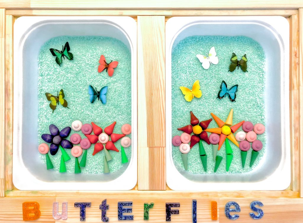 spring toddler activities: butterfly sensory bin