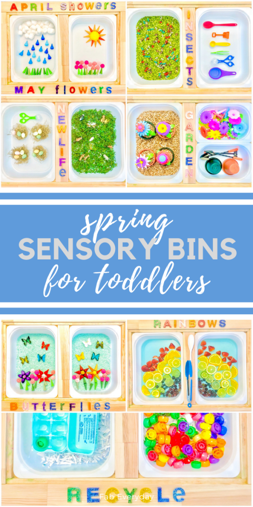Spring sensory bins for toddlers (spring sensory table ideas)