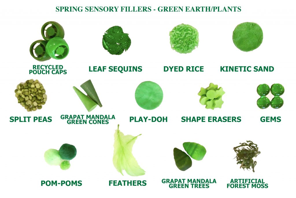 spring sensory table ideas - green sensory bin fillers for spring sensory bins