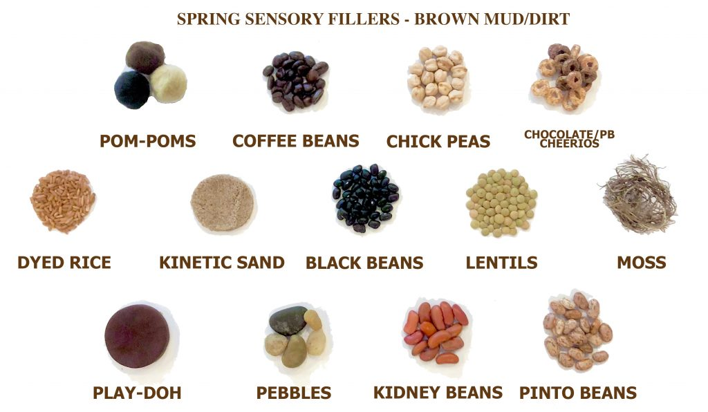 spring sensory table ideas - brown sensory bin fillers for gardening and spring sensory bins