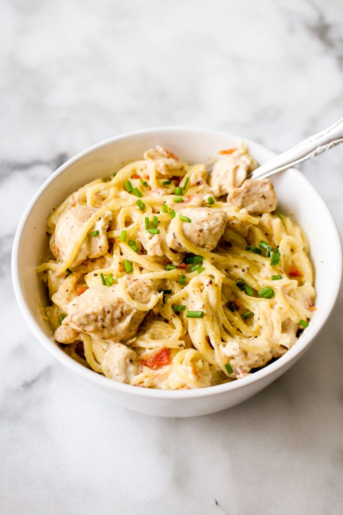 Instant Pot chicken pasta recipe with bacon and ranch