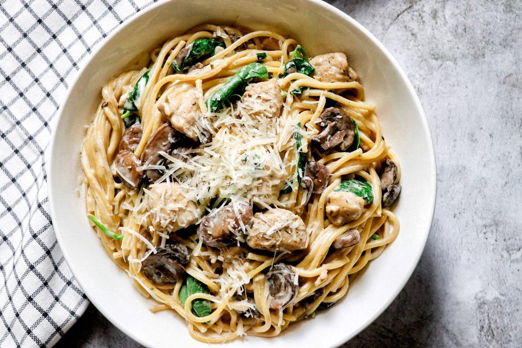 creamy chicken and mushroom pasta recipe made in the pressure cooker