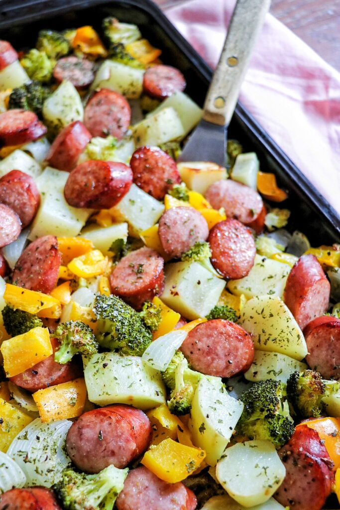 Sheet Pan Sausage and Veggies (one pan sausage and vegetable bake)