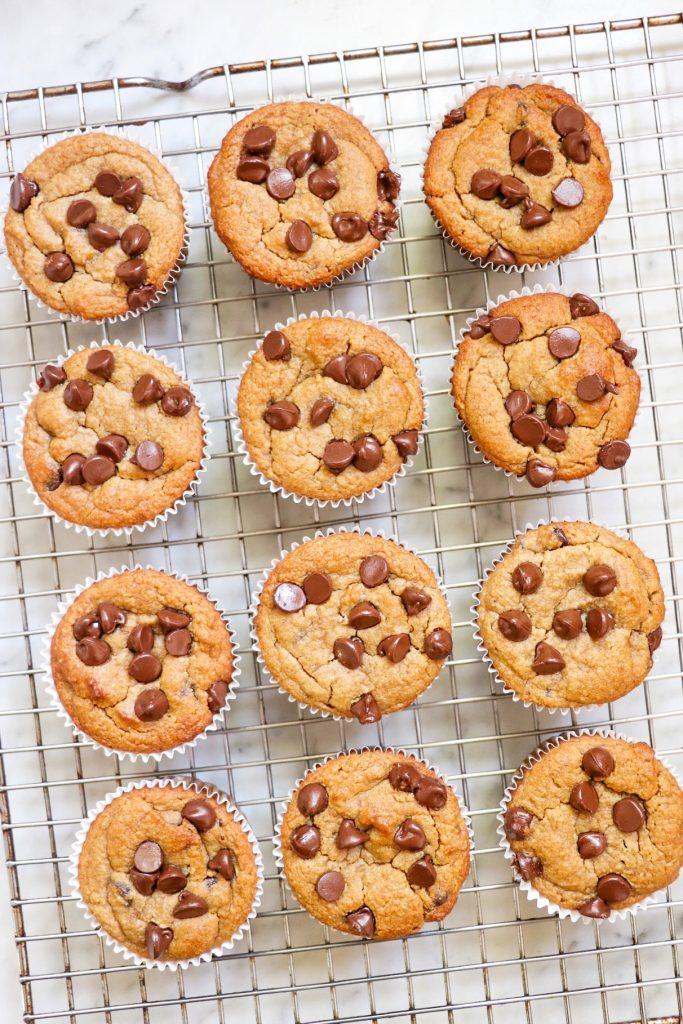 almond flour banana chocolate chip muffins