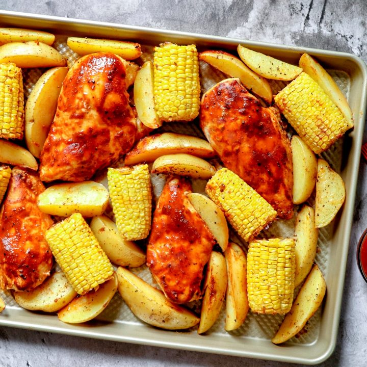 Baked BBQ Chicken Breast with Corn and Potatoes