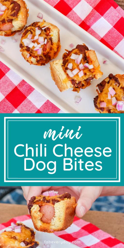 Chili Cheese Dog Bites (oven-baked mini chili dogs)