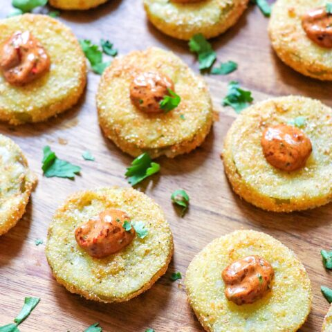 Fried Tomatillo Bites with Chipotle Remoulade (tomatillo fried green tomatoes)