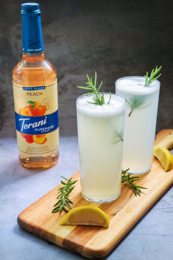 gin peach cocktail: rosemary and peach gin fizz