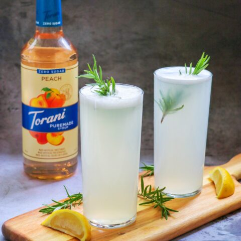 Low Carb Peach and Rosemary Gin Fizz (the perfect gin peach cocktail for summer)