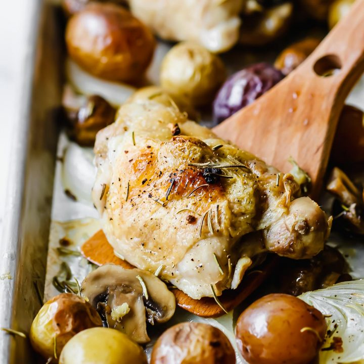 One Pan Roasted Chicken and Potatoes (sheet pan chicken thighs recipe)