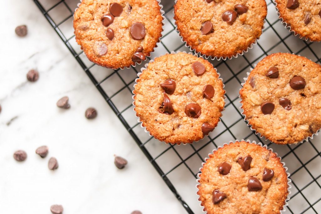 Whole Wheat Oatmeal Chocolate Chip Muffins