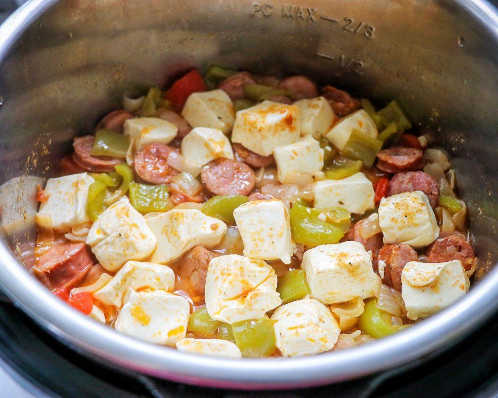 Pressure cooker Cajun pasta with sausage recipe