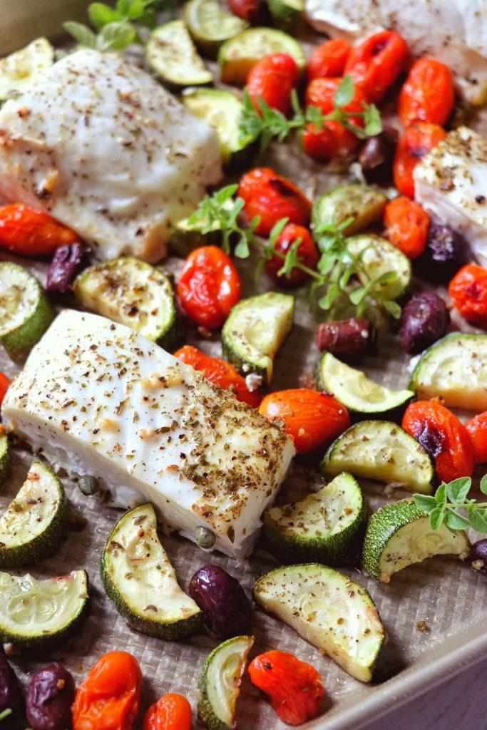 Sheet Pan Mediterranean halibut recipe