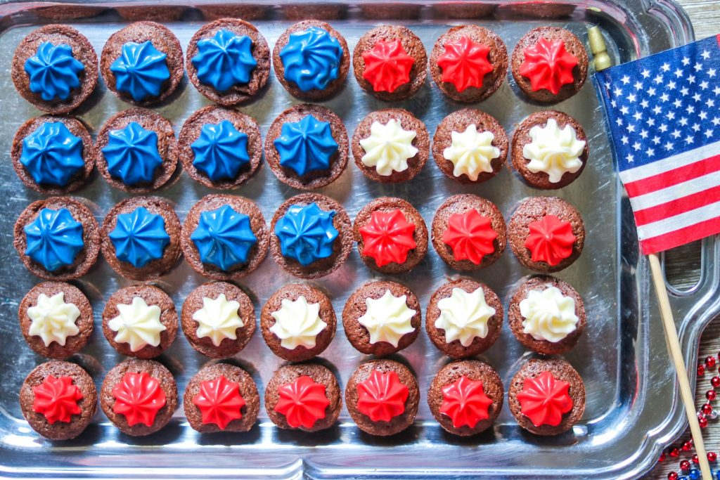patriotic brownie bites (mini brownie bites recipe for the fourth of july)