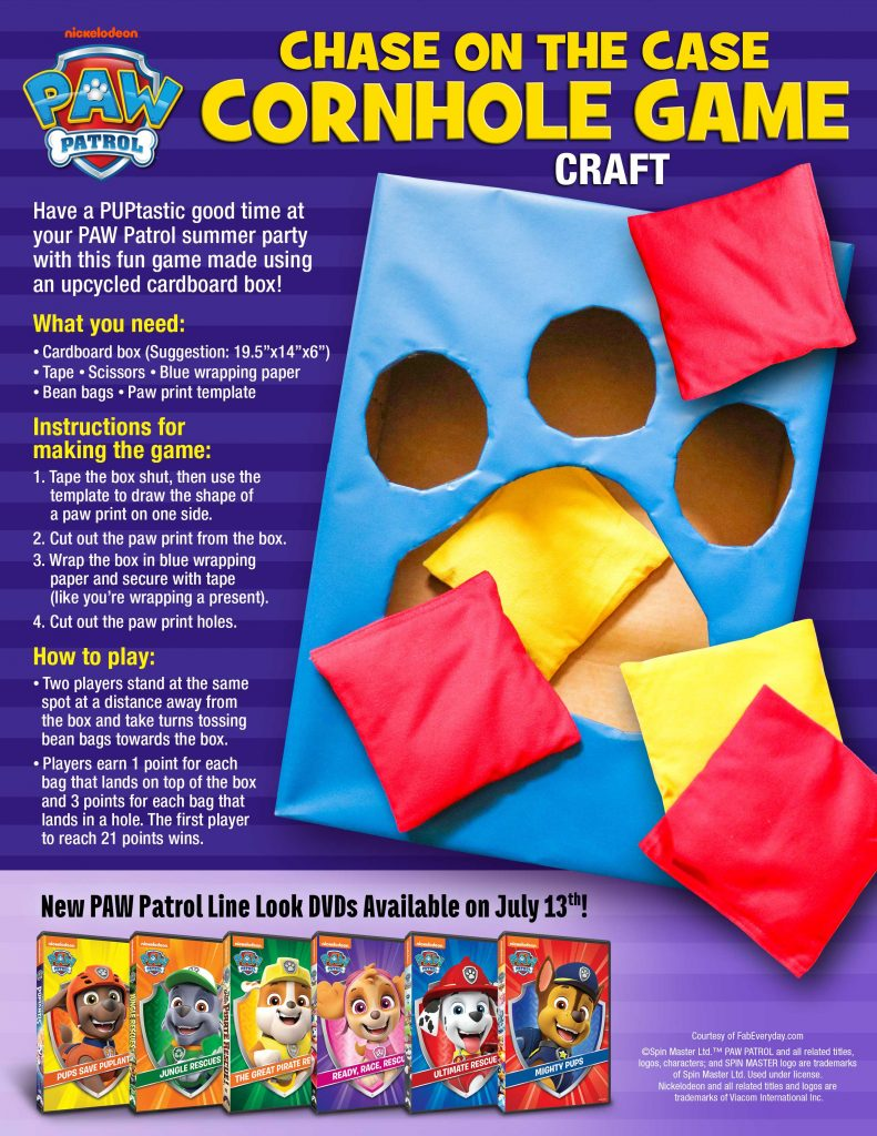 PAW Patrol birthday party games: Chase on the Case Cornhole Game