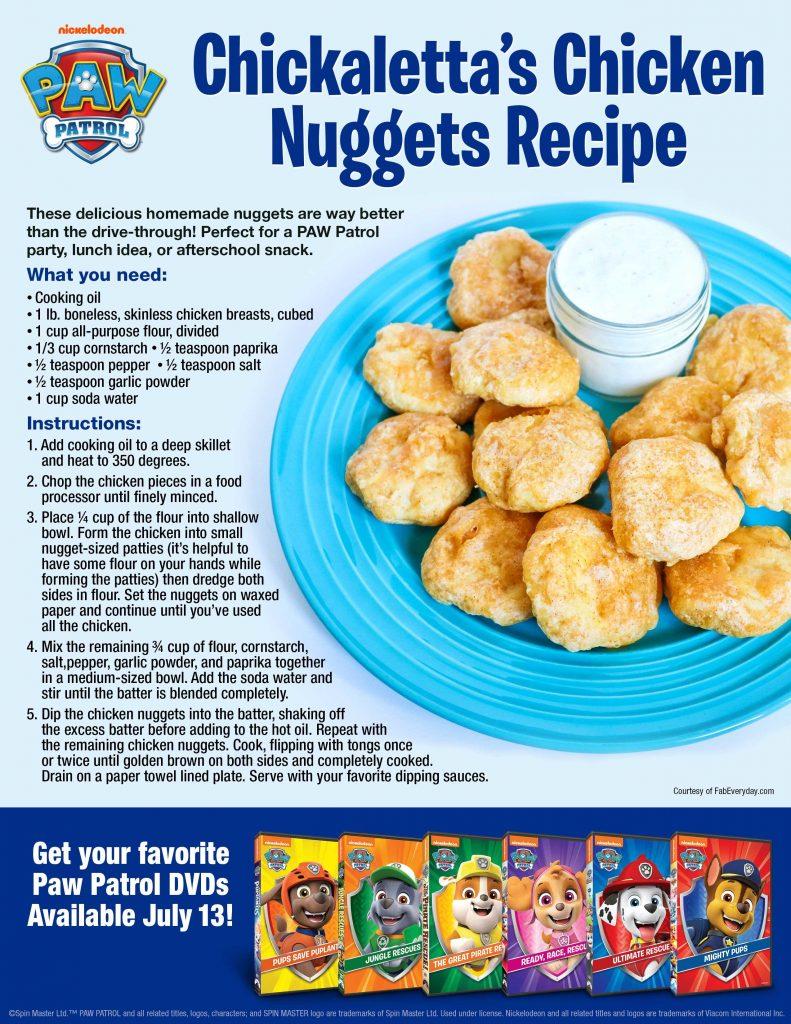 PAW Patrol birthday party food ideas: Chickaletta's Chicken Nuggets