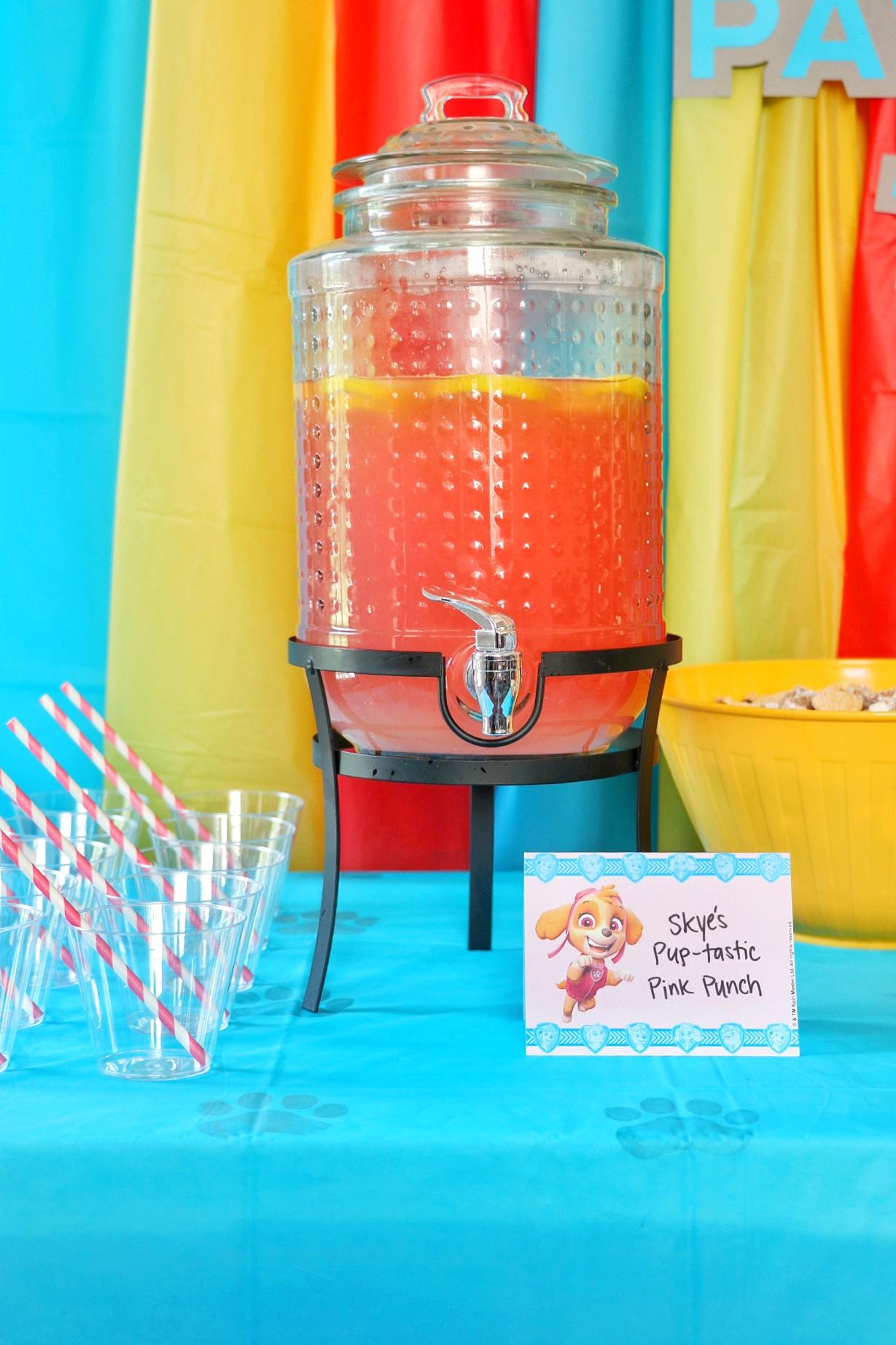 PAW Patrol birthday party ideas: Skye's Pup-tastic Pink Punch (pink lemonade recipe for a PAW Patrol birthday)