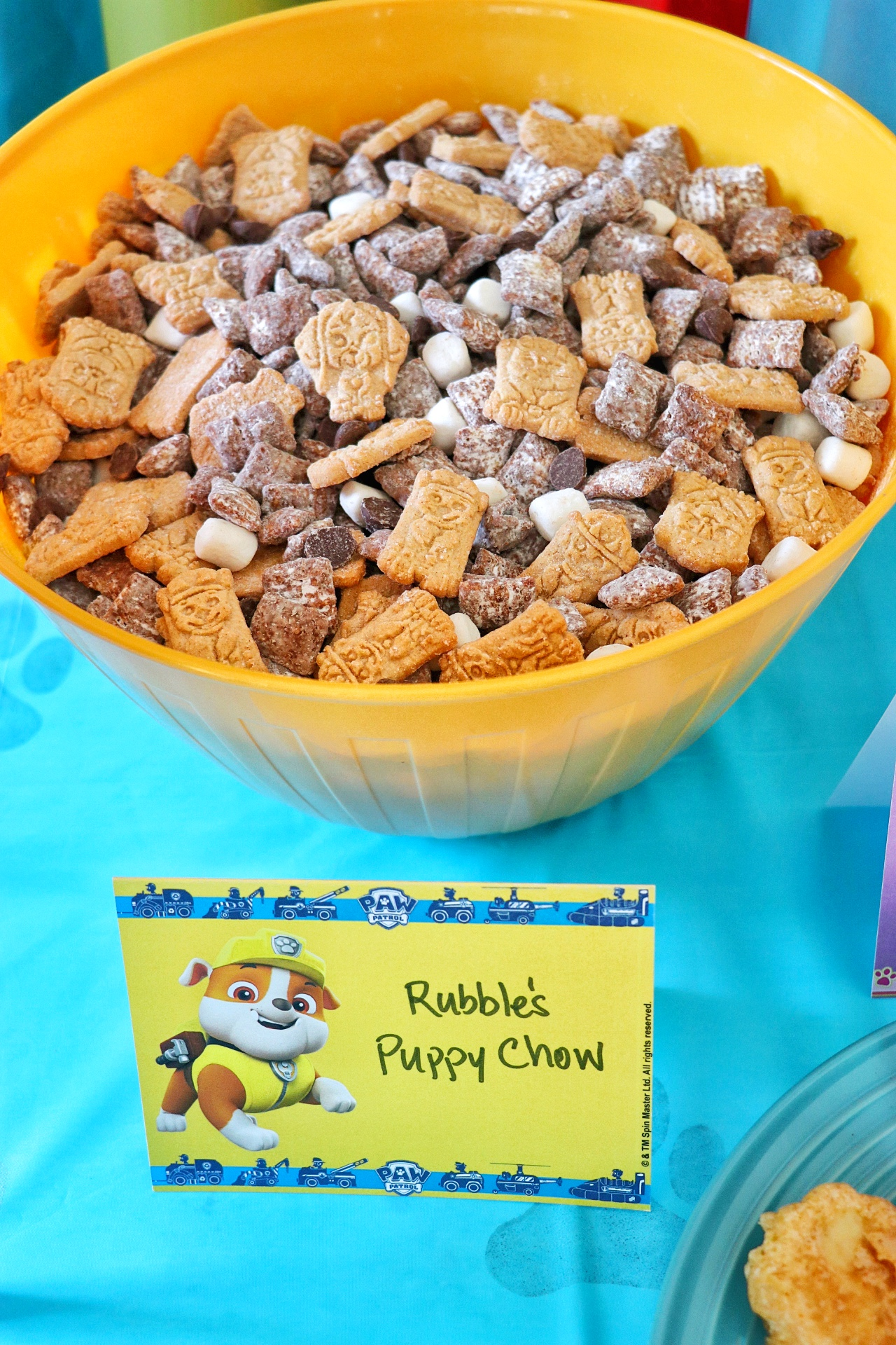 PAW Patrol themed food for a PAW Patrol birthday party: Rubble's Puppy Chow