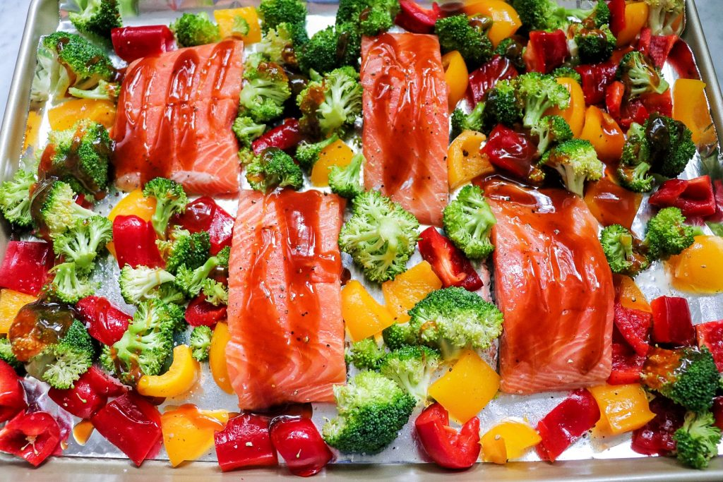 baked salmon with vegetables recipe