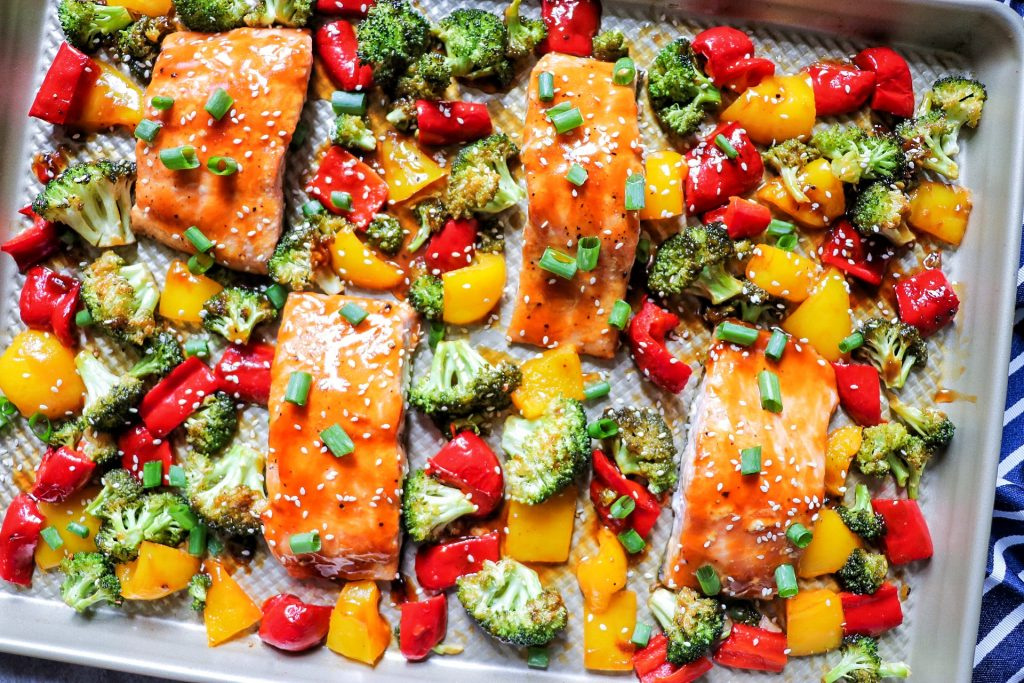 one pan baked salmon and vegetables