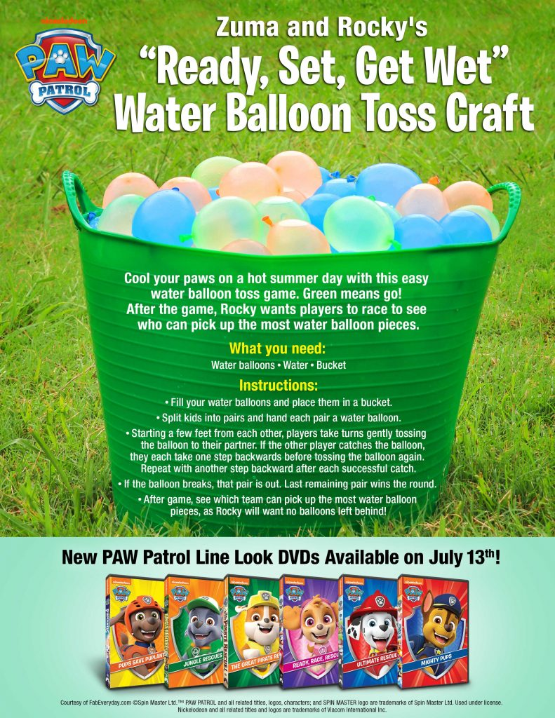 PAW Patrol party games: Zuma and Rocky's Water Balloon Toss